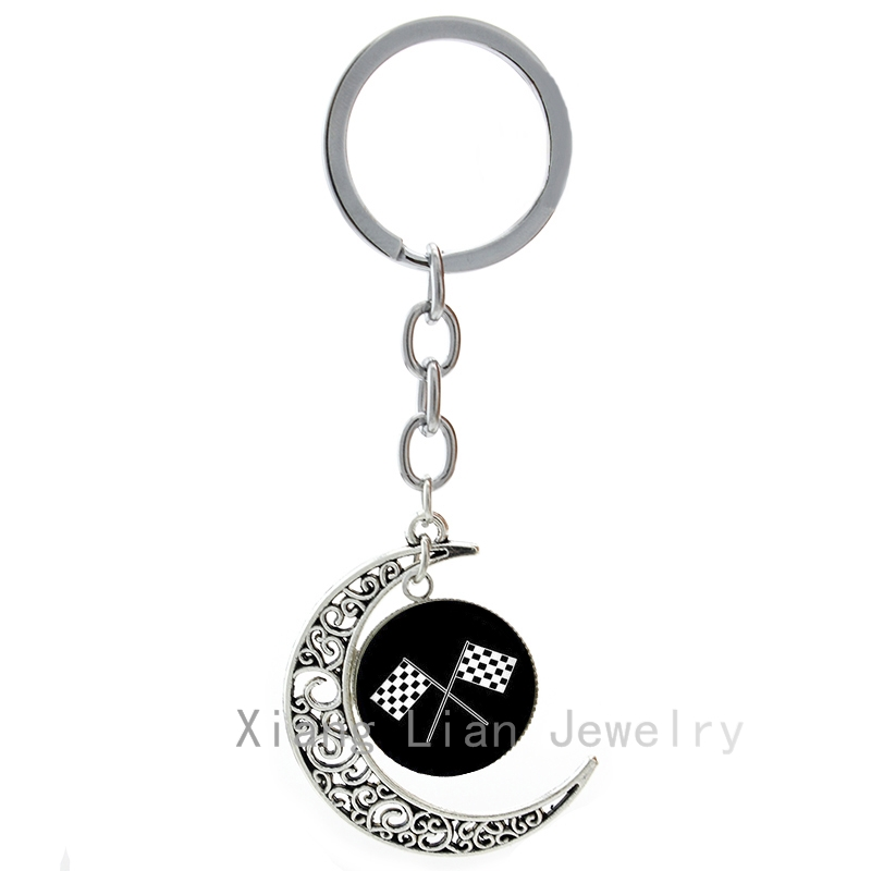 Racing font b Chequered b font Flag keychain super cool motor racing sports 4 checkered flags