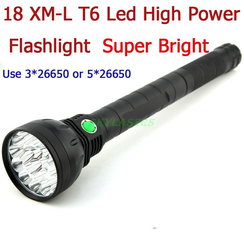 Free Shipping 18T6 Super Bright 22000 Lumen 18 x CREE XM-L T6 LED Flashlight Strong Torch Flash Light With Lanyard For Outdoors(China (Mainland))