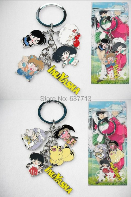20pcs Anime Cartoon Inuyasha Keychains Metal Figures Pendants Key Chains 2Styles(China (Mainland))