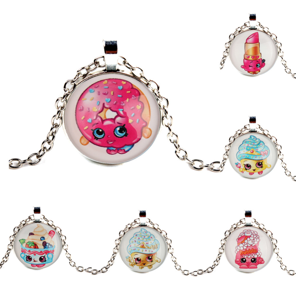 8pcs Fashion Shopkins Cupcake Queen Chain Necklace with Cabochon Pendant Antique Silver Plated Chain Vintage Necklace for Kids(China (Mainland))