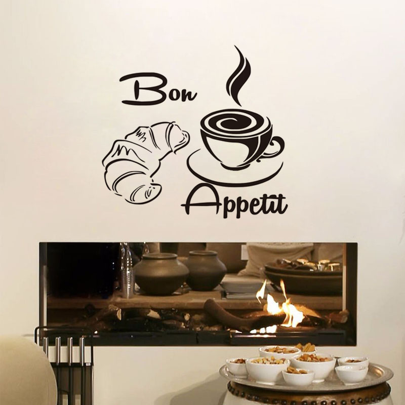 Food Wall Stickers Bon Appetit French Restaurants Poster Vinyl Removable Dining Room Decoration Kitchen Decals With