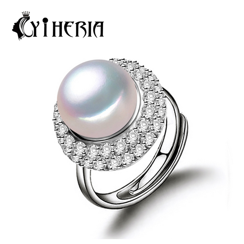 natural freshwater pearl ring 925 Sterling Silver Ring cultured genuine Real Pearl Rings For Women Wedding Ring pearl 10-11mm