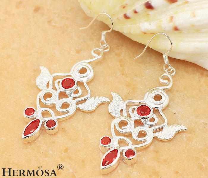 """Gushing Rare Red Garnet Fire Topaz 925 Sterling Silver Female Earrings 2 1/2"""",V25(China (Mainland))"""