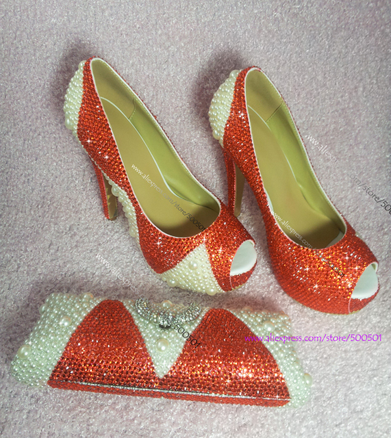 women shoes flowers print Orange sparkly CRYSTAL with Ivory Pearls FORMAL PUMPS  Shoes and Matching Bag