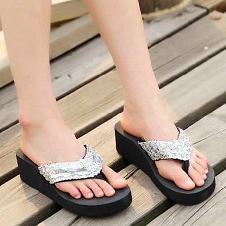 Women's fashion summer beach house slippers sandals and slippers women sandals sequined flat bottom thick sponge wedge slip cool