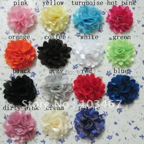 "21 colors- 200pcs/lot  2"" Mini Satin Mesh Flowers Charlotte Tulle Puff Flower Head hydrangea"