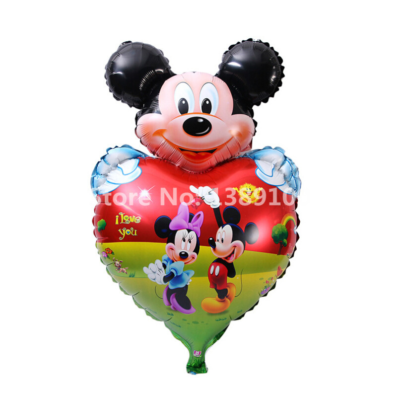 2pcs Mickey balloons Heart inflatable air toys helium balloons for baby toy, birthday party supplies baby shower globos helio(China (Mainland))