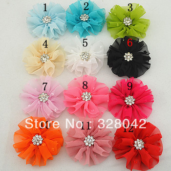 Trail order baby girl chic vintage chiffon flower DTY fabric flower rhinestone Button dress/shoes/hair accessories 36pcs/lot