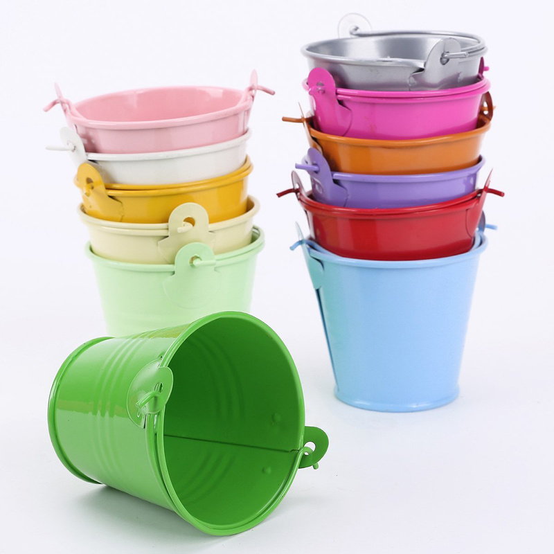 Hot sell 12pcs Colorful Mini Metal Bucket Candy Favours Box Pail Wedding Party Gifts(China (Mainland))