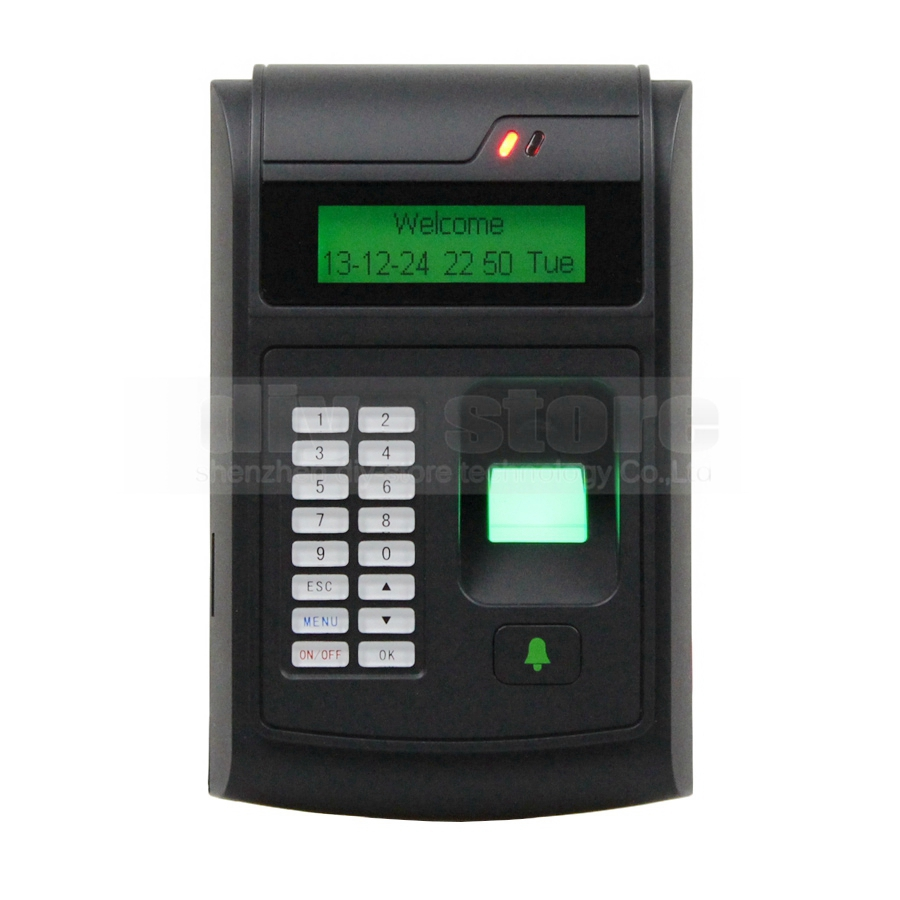 LCD Biometric Fingerprint PIN Code Door Lock Access Control + 125KHz RFID ID Card Reader With USB / Door Bell Button Brand NEW(China (Mainland))