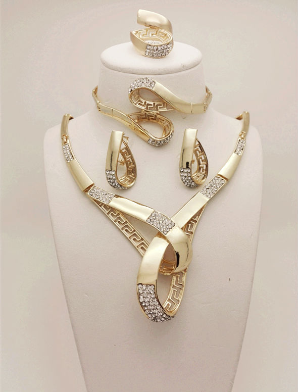 Wholesale 2015 Vogue Costume Jewelry Sets dubai  wedding accessories big african gold plated jewelry set 18k gold plated sets