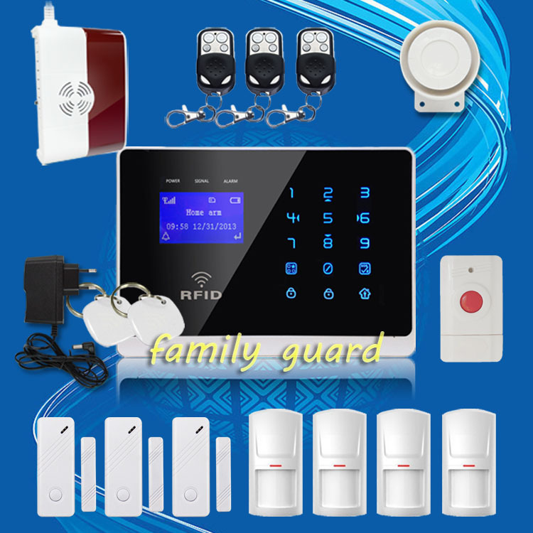 Free Shipping!Wireless GSM SMS TEXT RFID Touch Keypad Alarm System Gas Sensor+ Panic Button Touch Screen High Quality(China (Mainland))