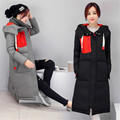 Winter new Korean Slim ultra long down jacket cotton padded women loose thick cotton coat large