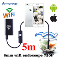 HD 8mm WiFi 5M Endoscope Iphone Android Phone Borescope Waterproof Video Inspection Snake Camera Mac Windows