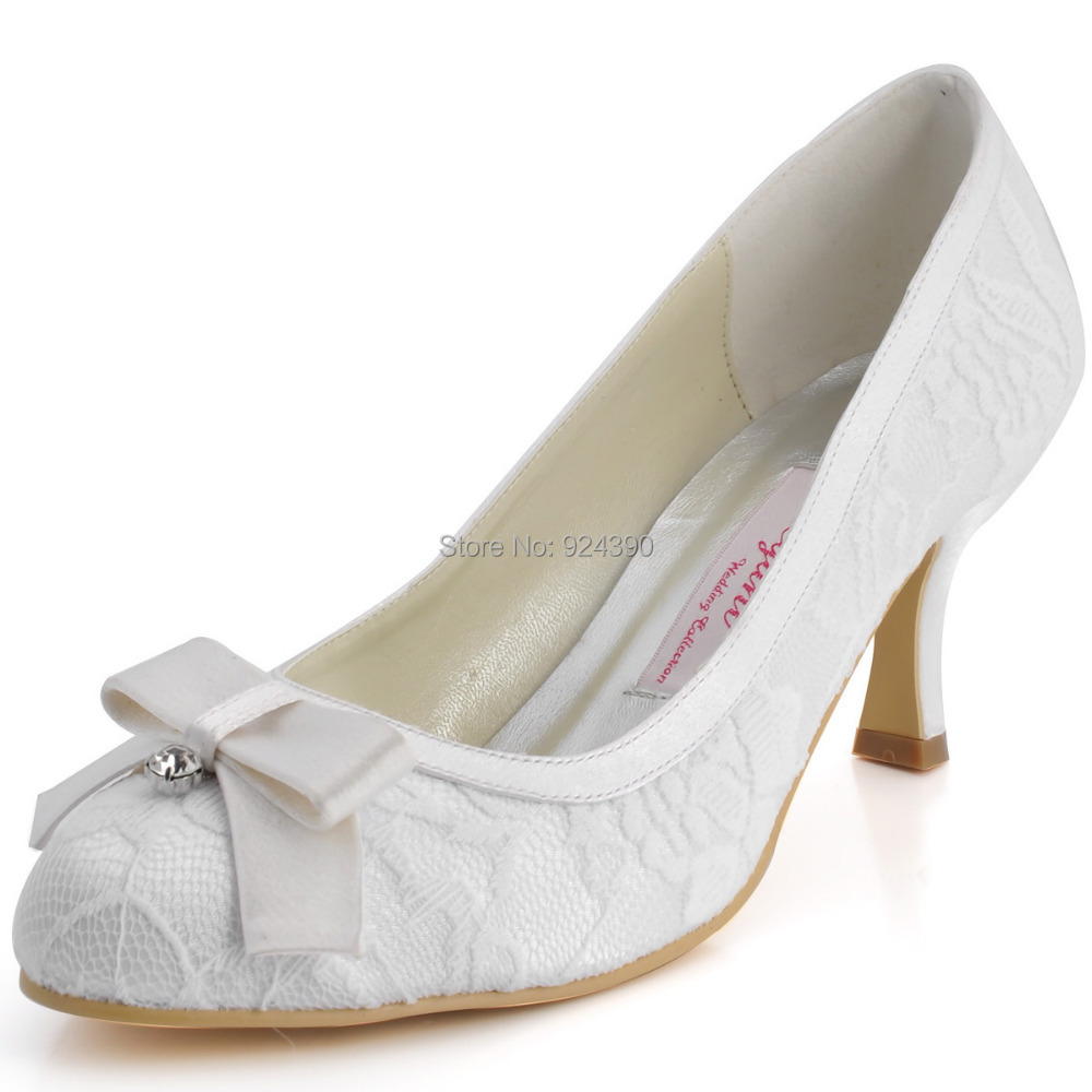 White Heels With Bow - Is Heel