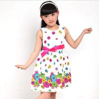 Retail 2015 summer children kids clothing girls rose flower dress girls tutu dress cotton dress princess dress  for 3-9 years