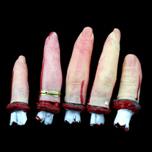 New 5 Sick Severed Finger Halloween Prop Bloody Body Parts Chop(China (Mainland))