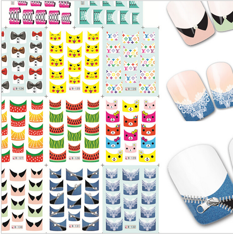 1sets 11 designs Lovely Cartoon Zipper Nail Art Stickers Water Transfer Decals French Tips Manicure Styling Tools B122-132(China (Mainland))