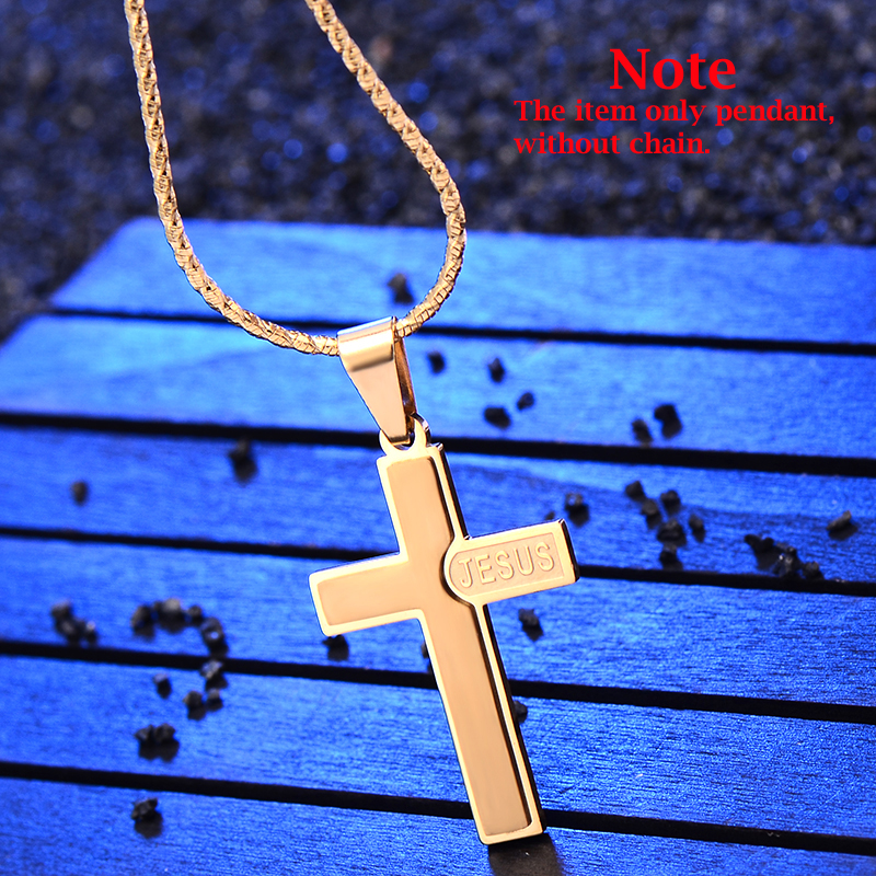Mens cross pendant Fit chain Necklace stainless steel hip hop 24K jewelry couple Fashion(China (Mainland))
