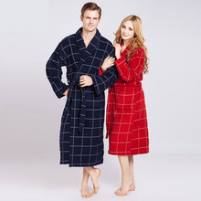 Unisex Robe De Cetim Vestaglia Women's Plaid Full Sleeve Terry Cotton Sleep Lounge Robes Peignoir Femme Robe Femme(China (Mainland))