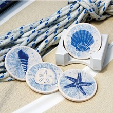 Dia 10cm Classic Color Absorbent Ceramic Cup Coaster with Wooden Base Fashion Placemat Restaurant Supplies 4pcs/lot SH022(China (Mainland))