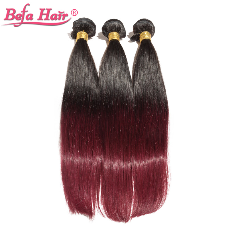 4pcs/lot high quality 16-24inch european human hair extensions straight dyed ombre remy hair 1b/99j#(China (Mainland))