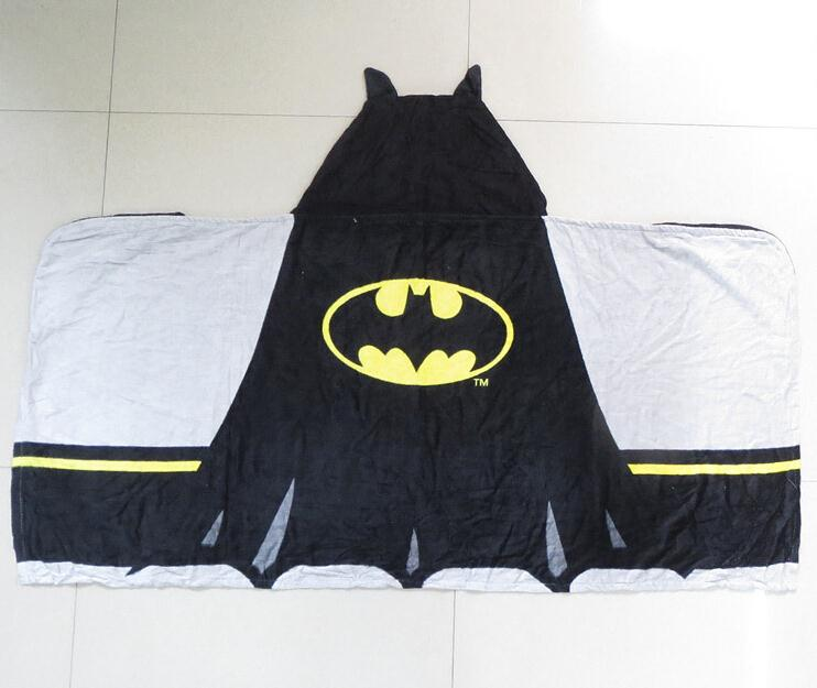 Retail Cartoon Batman 100% cotton baby towels bathroom children beach hooded towel kids bath towel in stock(China (Mainland))