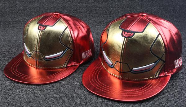 Мода мультфильм отца и ребенок железный человек бейсболка с плоским шляпа взрослые дети кожа хип-хоп шляпа оптовая продажа шляпа