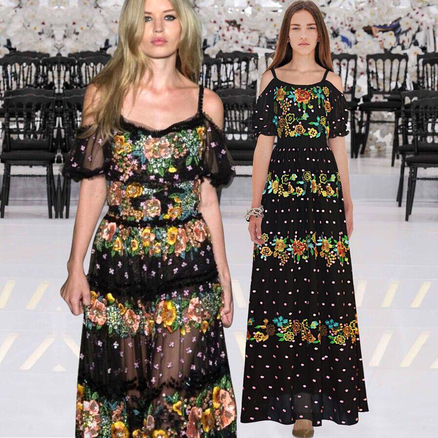 2015 high fashion elegant maxi dress flower embroidered boutique women dress