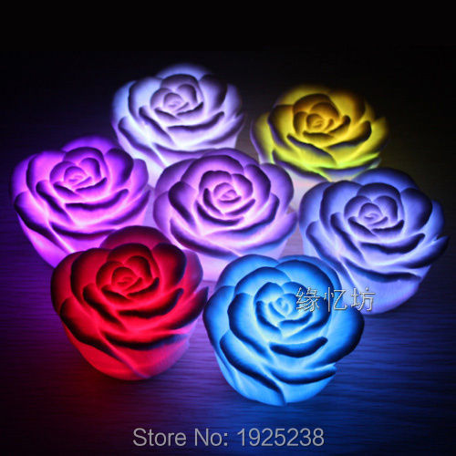 7 Color Changing Candle New Night Light Romantic LED Rose Flower Decoration <br><br>Aliexpress