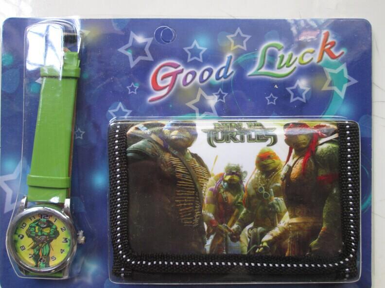 Черепашки-ниндзя черепахи комикс дети кварцевый до запястья часы / часы с один портмоне / бумажник / вкладыш для девочки 3шт / много