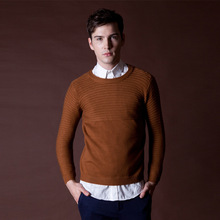 Thick Sweater Pullover  Masculino Mens Wool Sweaters 2015 New Arrival  Green Camel Black Knitted Sweater Korean Sweater Men(China (Mainland))