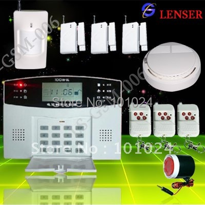 106 zones LCD Home Alarm +1wireless smoke detector +1 Infrared sensor + 3 Door sensorLS-GSM-006)