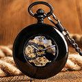 Vintage Smooth Case Fob Roman Numerals Steampunk Black Automatic Mechanical Pocket Watch Luxury Men Women Clock