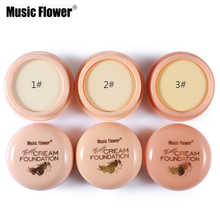 1PC Brand Music Flower Naked Natural Face Concealer Cosmetics Foundation Cream Camouflage Facial Primer Makeup Natural Color