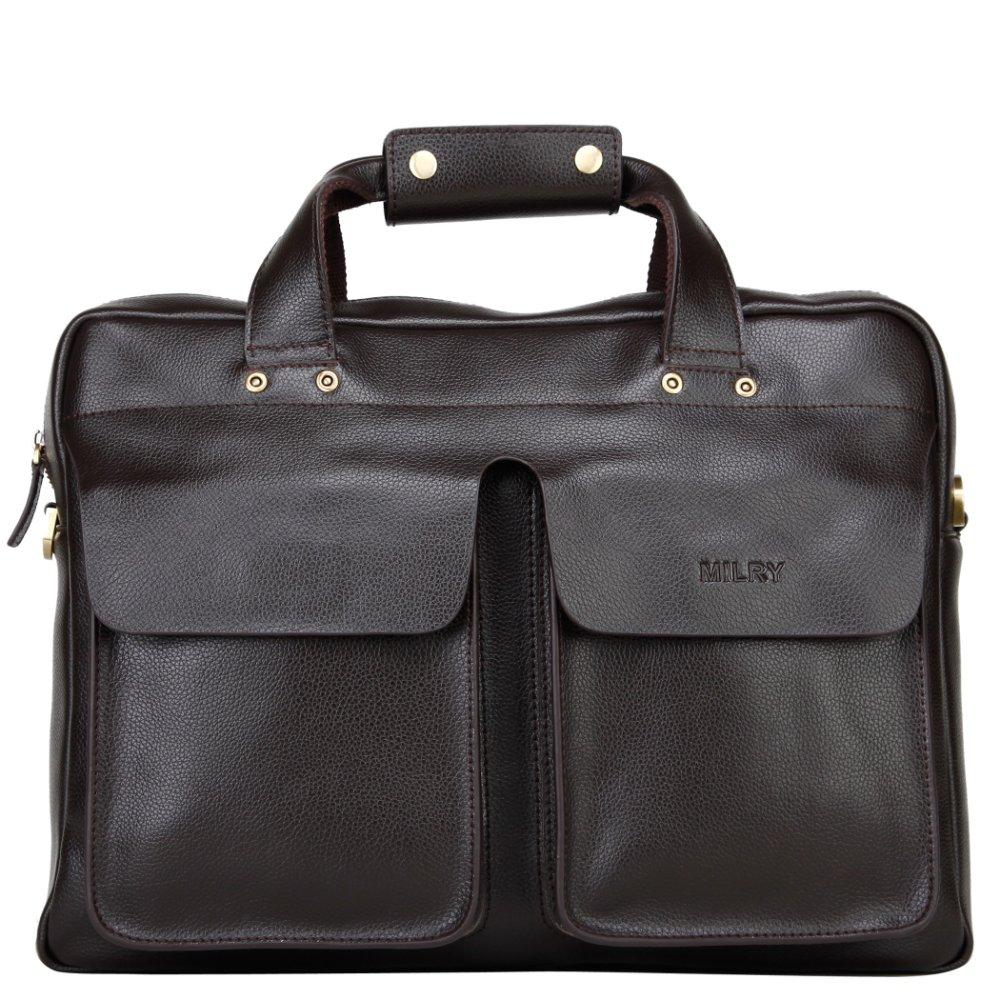 Brand MILRY 100% Genuine Leather Briefcase for men messenger bag shoulder bag laptop bag portfolio P0027
