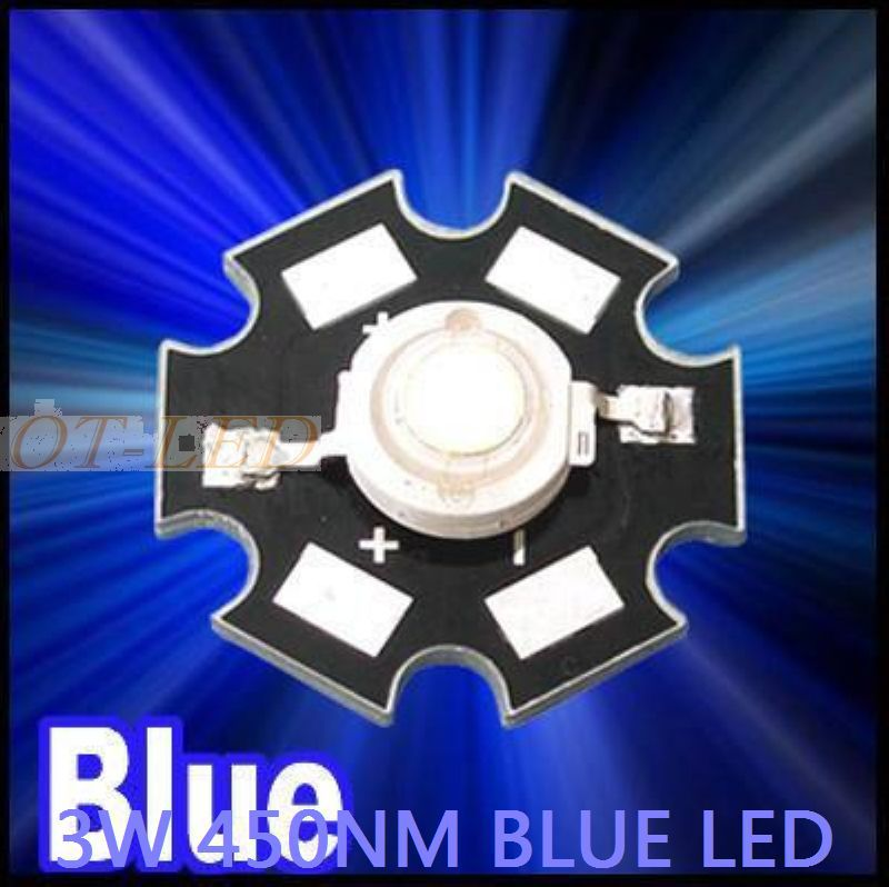 Freeshipping! 10PCS 3W Royal Blue High Power LED Emitter 700mA 450-455NM with 20mm Star Platine Heatsink for Plant Grow/Aquarium(China (Mainland))