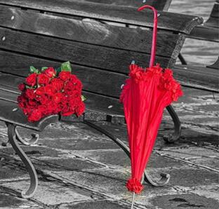 Red umbrella and roses diamond needlework diy diamond painting cross stitch full square drill mosaic embroidery flowers(China (Mainland))