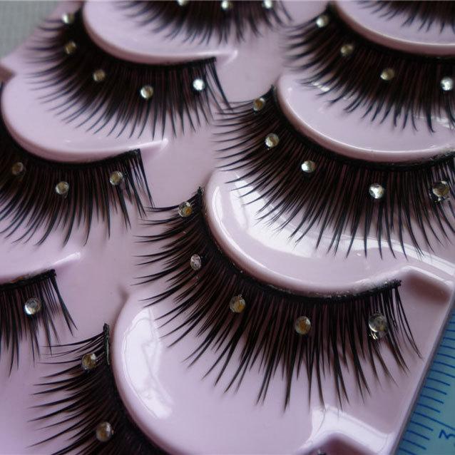 3Q 1 Box 5Pairs False Eyelashes Acrylic Crystal Art Natural Length Long Fake Eye Lashes Thick False Eyelashes Beauty Makeup Tips(China (Mainland))
