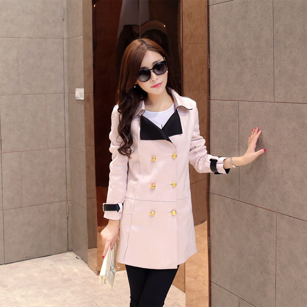 2015 Winter new Korean fashion suede coat long double-breasted jacket lapel Slim female tideОдежда и ак�е��уары<br><br><br>Aliexpress
