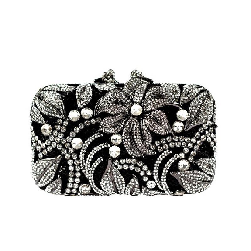Фотография 8212BS Crystal Flower Floral Lily Fashion Wedding Bridal hollow Black Metal Evening purse clutch bag handbag case box