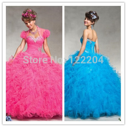 Elegant Purple Rose Organza Ruffle Ball Gown Quinceanera Dress New Prom Sweet 16 Dresses - okbridal store