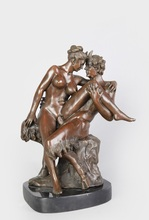 ATLIE BRONZES Bronze Figurine Erotic Make Love Beauty Goatman with Young Woman Satyr Statue sculpture figurines(China (Mainland))
