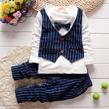 2016 Spring gentleman baby boys clothing set bowknot vest kids clothing set plaid pants british waistcoat baby suit for children