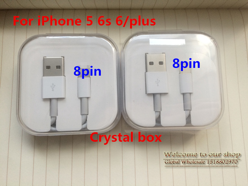 10Pcs / Lot, 1M 3.0mm USB Data Sync Charger Cable Lead For Apple iPad 4 iPhone 5 5c 5s 6 6s Original Cable Crystal box packing