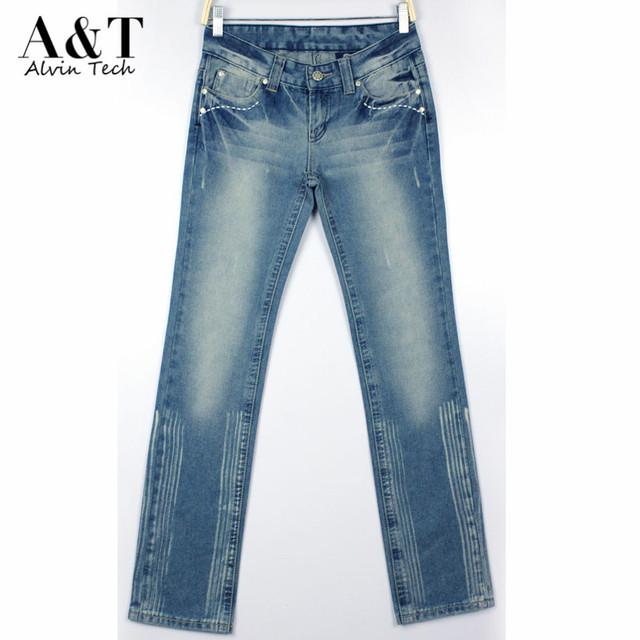 Корейский мода женщины весна лето стиль вымытые джинсовые брюки женский урожай ретро ...