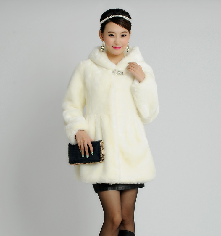 2015 autumn winters faux mink coat middle-aged rabbit hair cultivate long hooded faux fur plus size(China (Mainland))