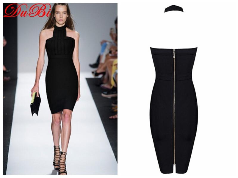 High Quality Sexy Halter Sexy Black Women Bandage Evening Celebrity Party Alibaba Express Dress 2015(China (Mainland))