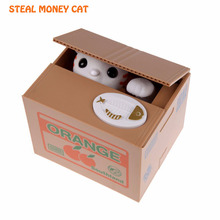 2016 New Cute Cat Money Box Automatic Stole Coin Creative Gift For Children And Girlfrend Special presents popular Boxes