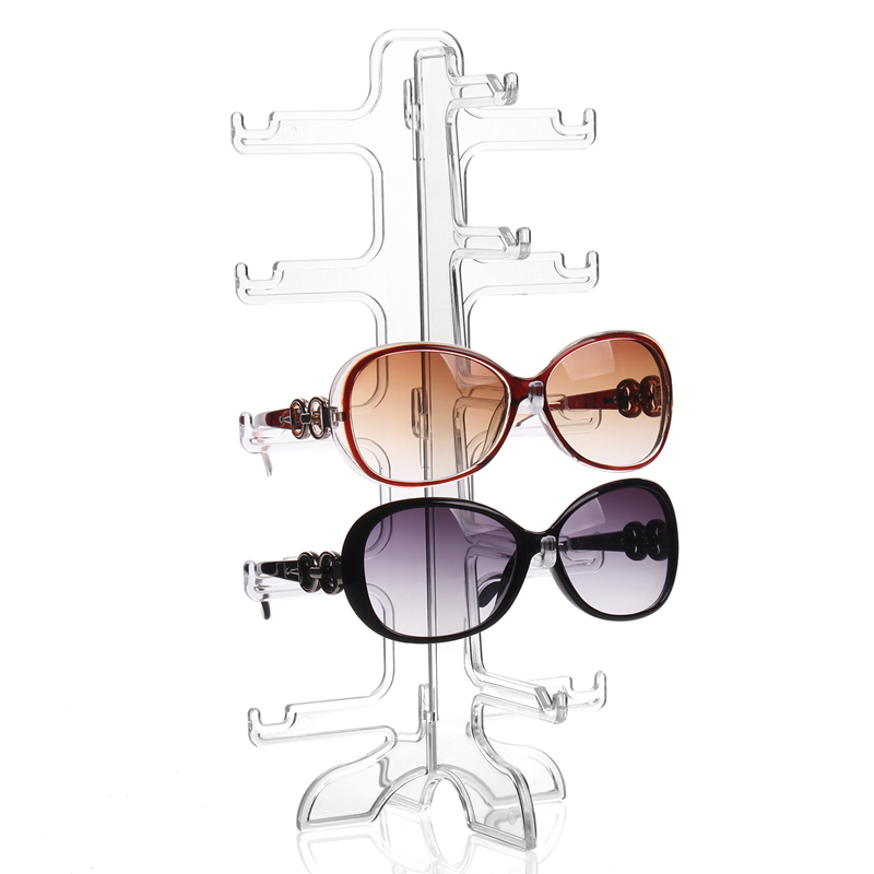 Fashion Practical Clear 5 Pairs Glass Stand Sunglass Holder Glasses Rack Display Organizer Sunglasses Frame Shelf Showcase(China (Mainland))